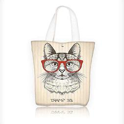 Canvas Tote Bag Kitten Cat with Vintage Retro Quote Glasses