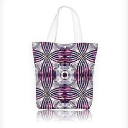 Canvas Tote Bag Vintage Style Geometric Ornament Stripes Cir