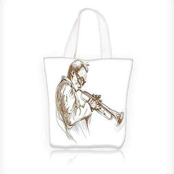 Canvas Tote Bags Jazz Man Playing Trumpet with a Pose Sketch