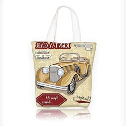 Canvas Tote Bags Vintage Car Rentals Commercial Illustration