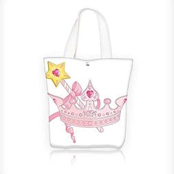 Canvas Zipper Tote Bag Printed Teen Crown And Wand For True