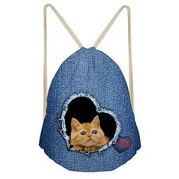 Showudesigns Cat Style Children Drawstring Bag Luxury Famous