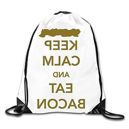 Creative Design Keep Calm And Eat Bacon Drawstring Backpack