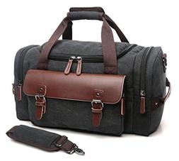 CrossLandy Canvas Gym Bag for Men Women Leather Overnight Ba
