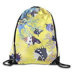Drawstring Backpack Gym Bag Travel Backpack, Ocean Seashells