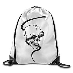 Drawstring Backpack Skull with Snake 3D Print Rucksack Shoul