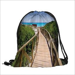 Travel Drawstring Closure Bag Pathway over the Woodland in S