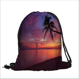 Drawstring Cotton Linen Cloth Sunwith Palm Tree Silhouette C