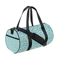 OuLian Duffel Bag Blue Floral Pattern Small Women Garment Gy