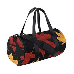 OuLian Duffel Bags Autumn Leaves Yellow Red Womens Gym Yoga