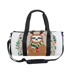 OuLian Duffel Bags Funny Sloth Drink Coffee Womens Gym Yoga
