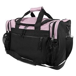 "DALIX 17"" Duffle Travel Bag with Front Mesh Pockets in Pink"