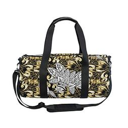 OuLian Gold Black Luxury Floral Flowers Sports Gym Shoulder