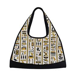 OuLian Sport Gym Bag Ancient Egypt Hieroglyphic Carvings Can