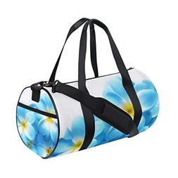 OuLian Gym Bag Gallery Hawaiian Plumeria Flower Blue Women C