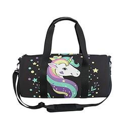 OuLian Gym Bag Unicorn Dream Women Yoga Canvas Duffel Bag Cu