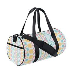 OuLian Women Gym Bag Vintage Lover Aztec Pattern Mens Camp D