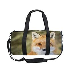 FeierCustom Gym Bag Wild Fox Women Yoga Canvas Duffel Bag Cu