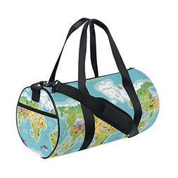 OuLian Gym Duffel Bag World Map Animals Ocean Flora Sports L