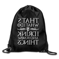Gym I Drink And I Know Things Design Drawstring Backpack Bag