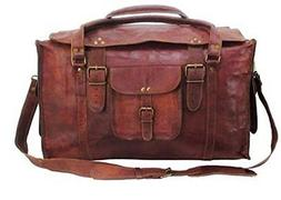 """Hlc 21"""" Mens Retro Style Carry On Luggage Flap Duffel Leathe"""