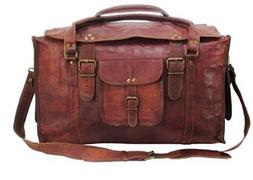 "HLC 21"" Mens Retro Style Carry on Luggage Flap Duffel Leathe"