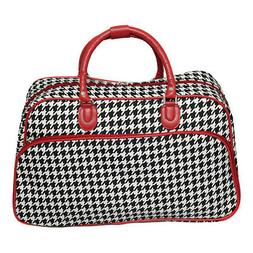 "World Traveler Houndstooth 21"" Carry-On Duffel Bag Rolling D"