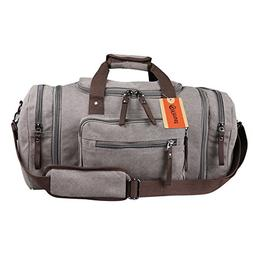 Yitrust Huge Canvas&Leather Travel Tote Duffel Luggage Bag W
