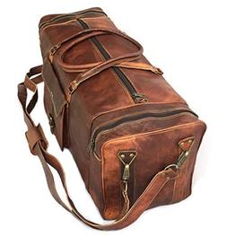 "28"" Inch Real Goat Vintage Leather Large Handmade Travel Lug"
