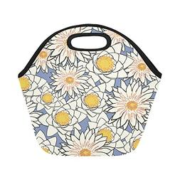Insulated Neoprene Lunch Bag Flowers Pattern Lotus Lily Wate