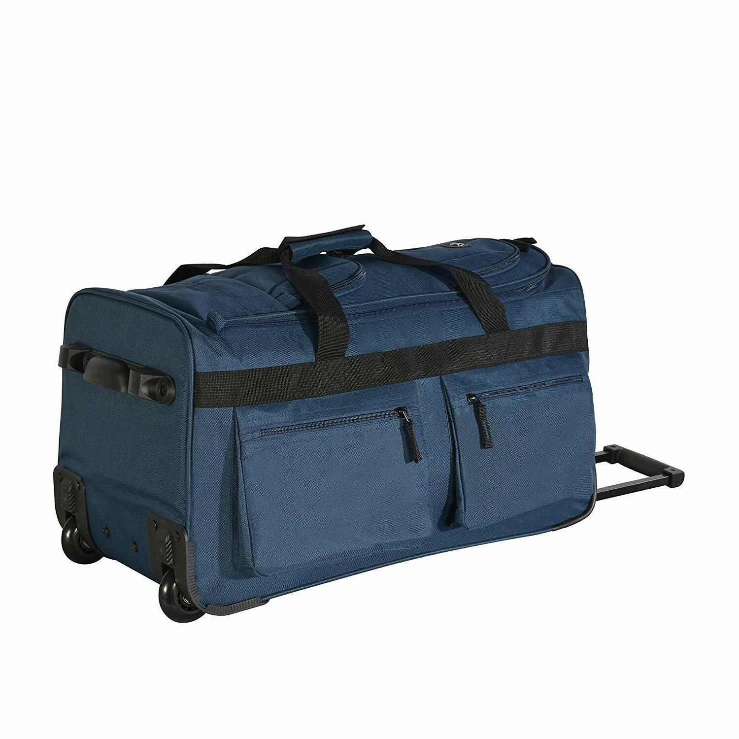 22 Inch Rolling Suitcase Pocket Navy