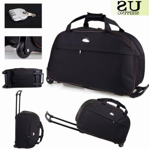 """24"""" Rolling Wheeled Tote Duffle Bag Carry On Luggage Travel"""