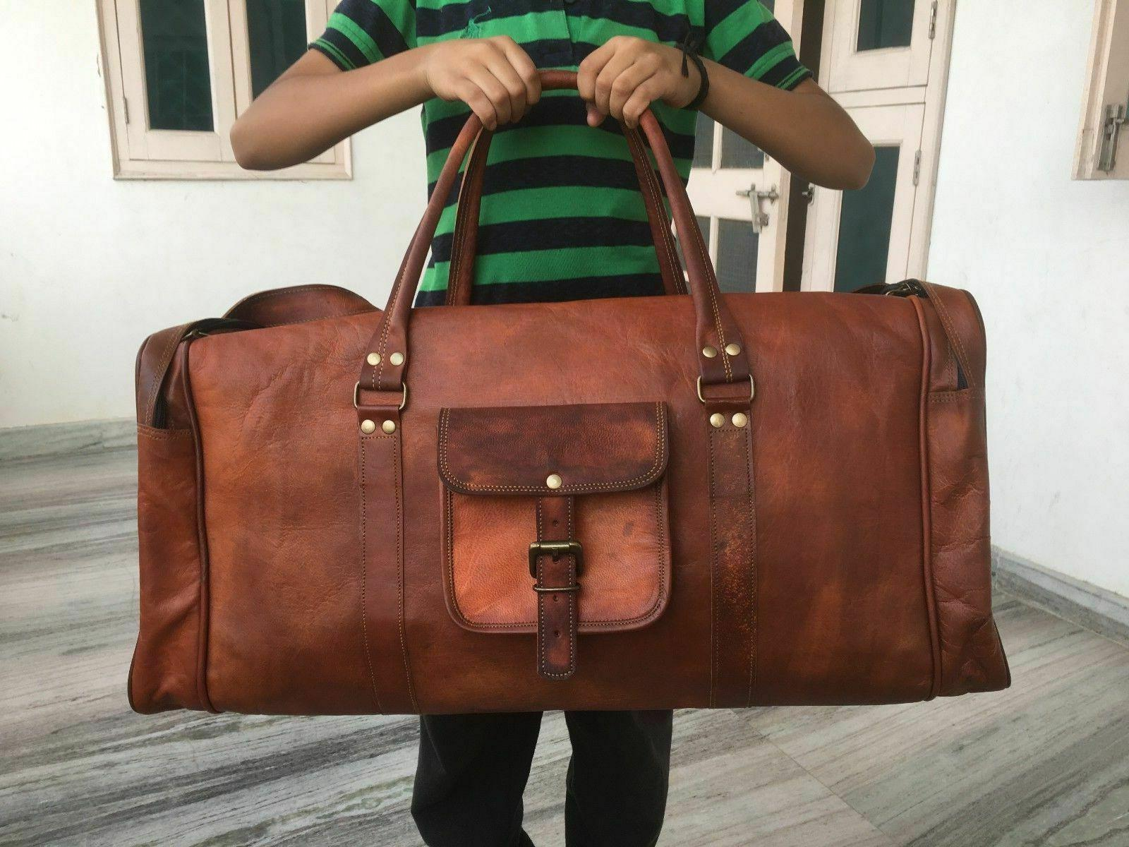 30 real unisex leather travel duffle gym