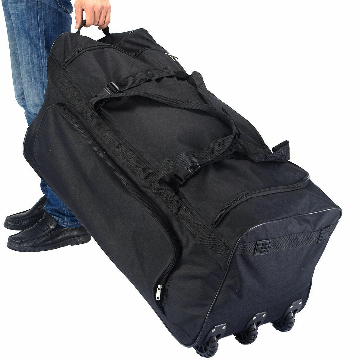 Large Black Rolling Wheels Duffle Tote Gym Bag Luggage Sport