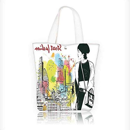 Canvas Tote Bag Girl in Hovel Style Clothes Citys Skyscrappe