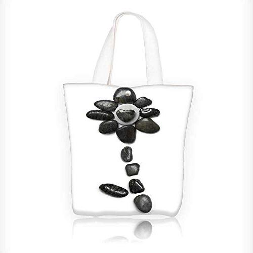 Canvas Tote Bag stone flower over white Hanbag Women Shoulde