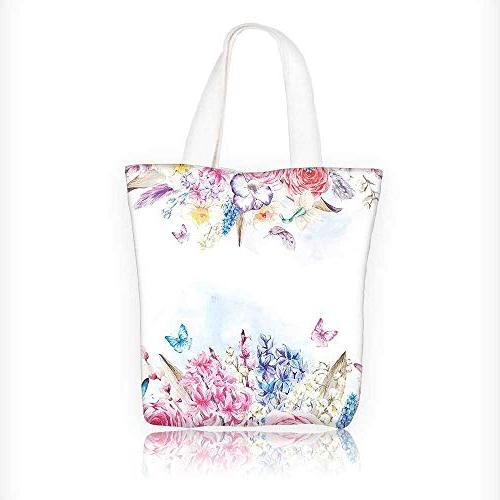 Canvas Tote Handbag Romantic Garden Roses Daisies Leaves Pri