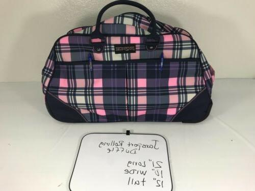 Jansport Rolling Wheeled Travel Duffle Bag Pink and Purple P