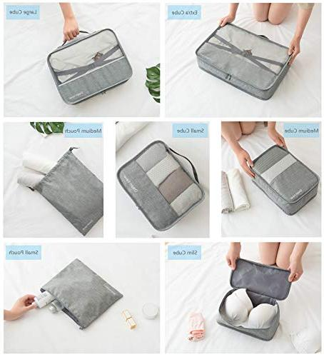 Packing Cubes Laundry Pouches Travel Luggage, Canvas Storage Organizer Set Color Black