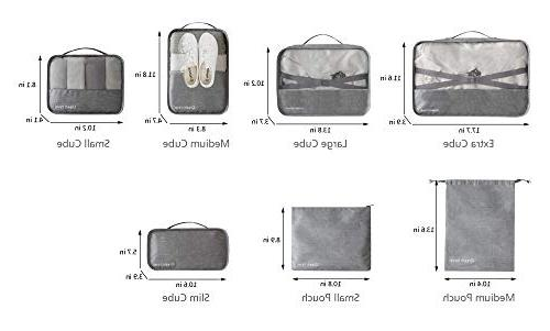 Packing Cubes Bags Pouches For Travel Suitcase Luggage, Superior Black