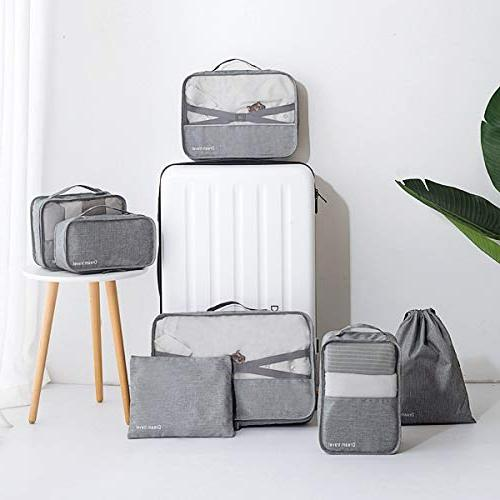 Packing Cubes Bags Pouches For Travel Suitcase Luggage, Canvas Storage Organizer Set Color Black