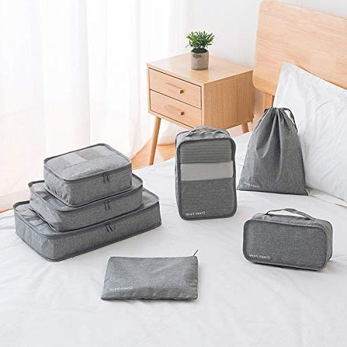 Packing - Cubes Pouches Luggage, Canvas Organizer 7 Set Black