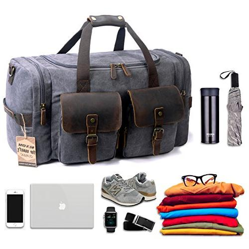 c5bba09282dd SUVOM Canvas Duffle Bag Leather Weekend Bag Carry