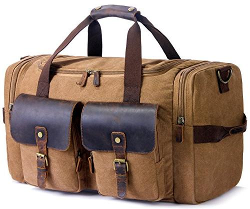 SUVOM Weekender Duffle Bag Canvas Leather Travel Luggage Ove