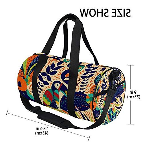 Sports Ethnic Parrot Mens Duffle Luggage Travel Bags Kid Lightweight Gym bag