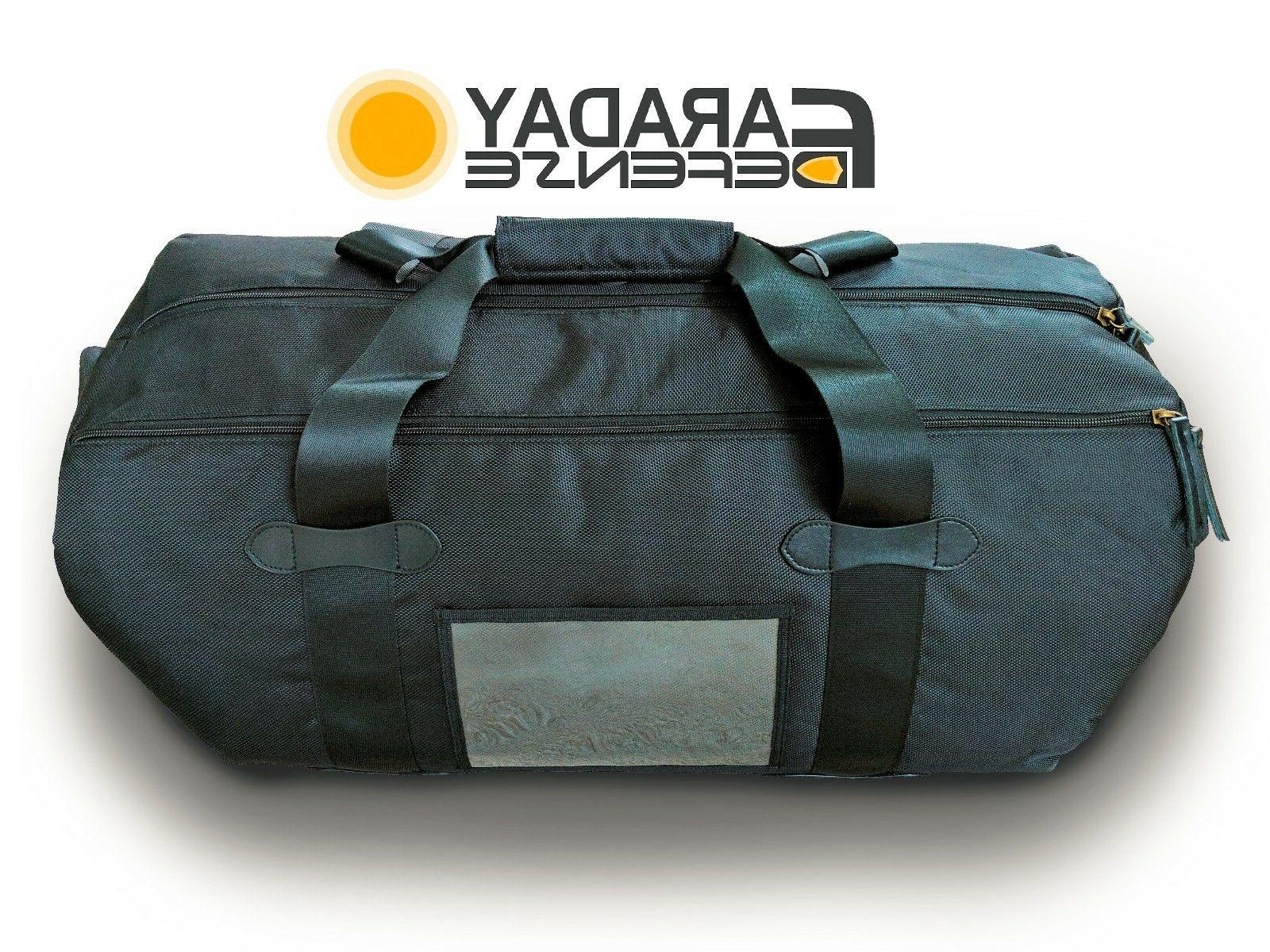 Faraday Cage Duffel Bag XL Black Canvas Shielding GPS WiFi S