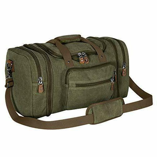 Canvas Duffle Bag Two Way Zipper Top With Pockets