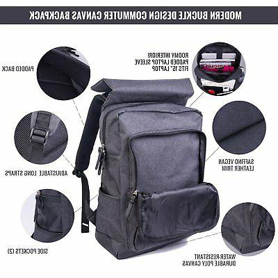 canvas weekender backpack with padded laptop pocket