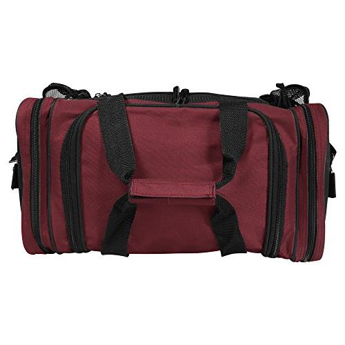 "DALIX 17"" Duffle Front Mesh Pockets in Maroon"