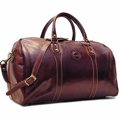 Cenzo Duffle Vecchio Brown Italian Leather Weekender Travel